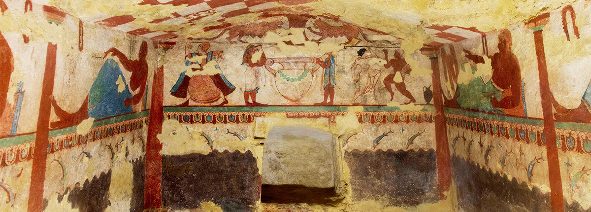 A wall-painting from the Etruscan Tomb of the Lionesses at Tarquinia