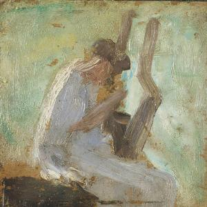 Painting of a woman with a lyre