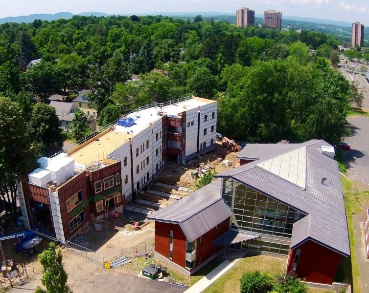 Southwest aerial perspective, showing Crotty Hall (Left) and Gordon Hall (Right) - Courtesy of Larry Kelley