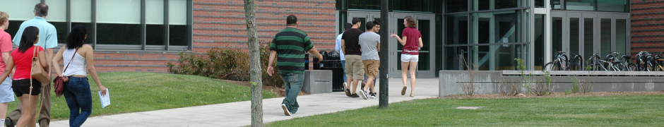 Students Outside Integrated Science Center