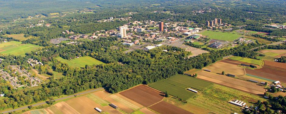 Aerial photo of campus and surrounding farmlands