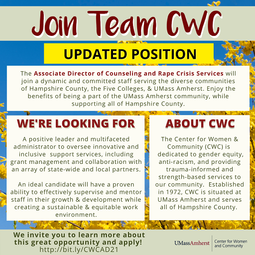 CWC is hiring for an Associate Director of Counseling & Rape Crisis Services! Take a look at this great opportunity and please share with others who may be interested