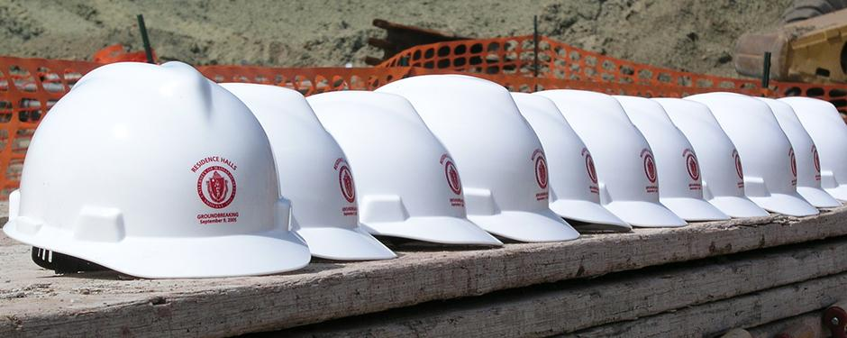 Hard hats at the North Residential Area groundbreaking