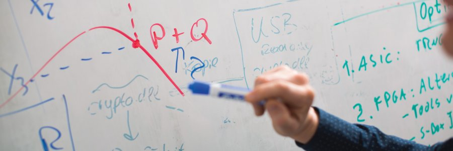 Instructor using white board