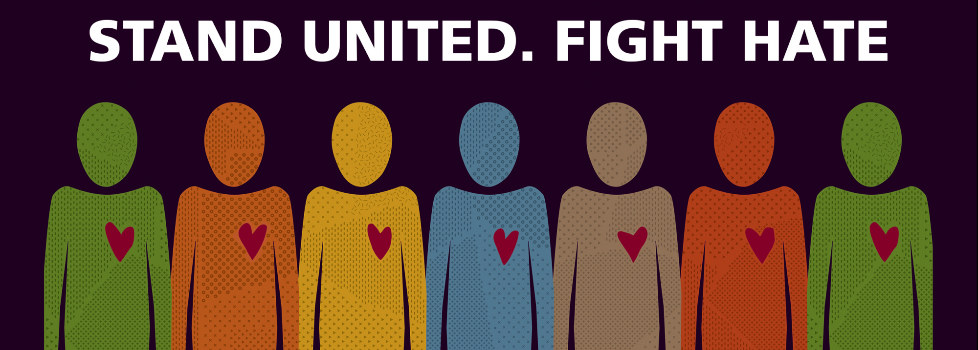 "Illustration of human figures standing side by side with the caption ""stand united. fight hate."""