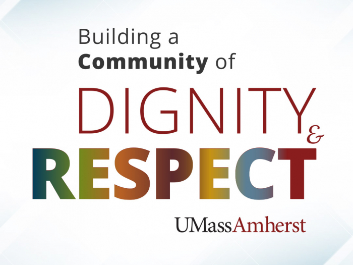 "image saying ""building a community of dignity and respect"""