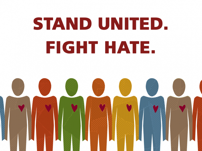 "an illustration of different colored humanoid figures holding hands under the words ""stand united, fight hate"