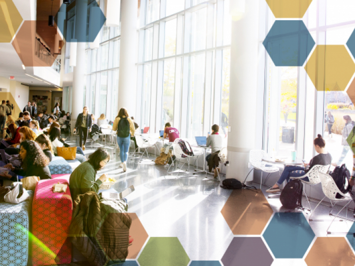 interior view of ILC with students seated outside of the cafe area. Image has a honeycomb pattern on the corners