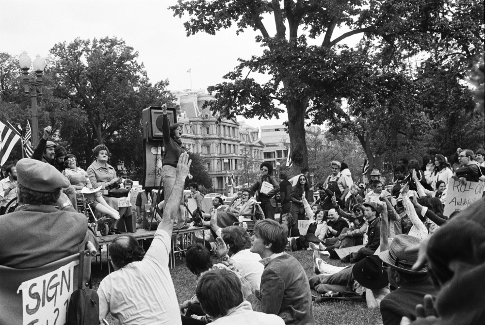 Outdoor Section 504 rally depicting the American Coalition of Citizens with Disabilities (ACCD) at Lafayette Park opposite the White House on April 26, 1977.