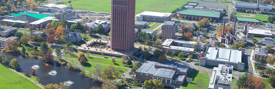 Aerial view of Thompson Hall at UMass Amherst