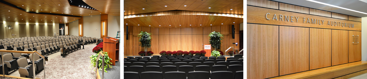 Images of the newly renovated Carney Family Auditorium at UMass Amherst College of Education