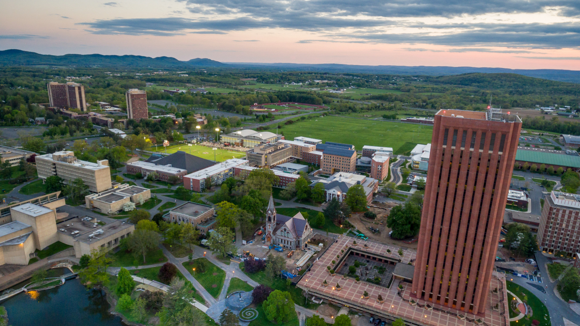 aerial view of umass amherst campus