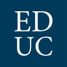 The letters EDUC over dark blue background