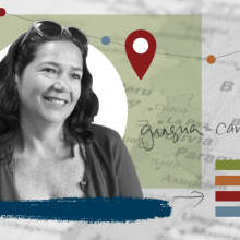 a montage portrait of Laura Valdiviezo, associate professor at UMass Amherst College of Education