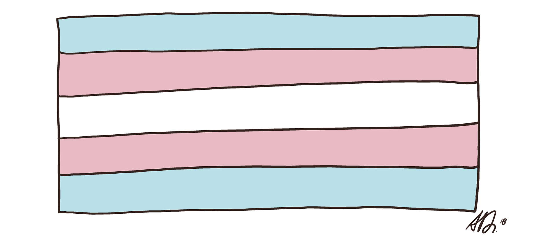 a pink, blue, and white striped flag representing transgender rights
