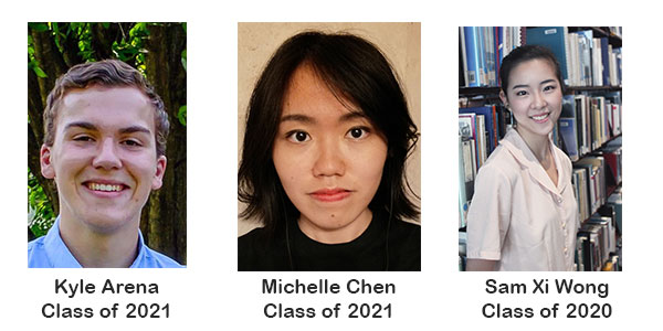 picture of 2018 English Opportunity Winners: Kyle Arena, Michelle Chen and Sam Xi Wong