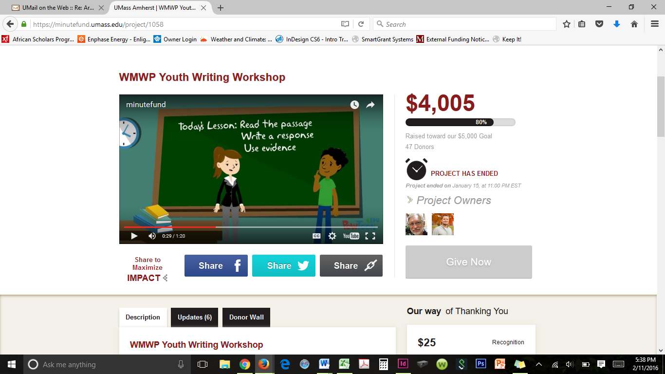 screen shoot of Western Mass Writing Program Project
