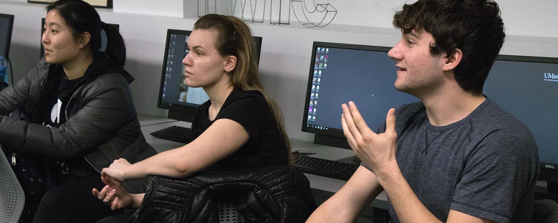Students participate participate in a full-class discussion.