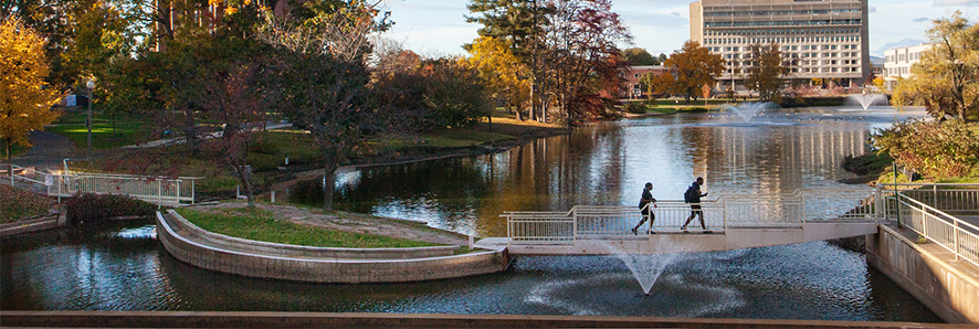 Two UMass students crossing the pond on a narrow footbridge.