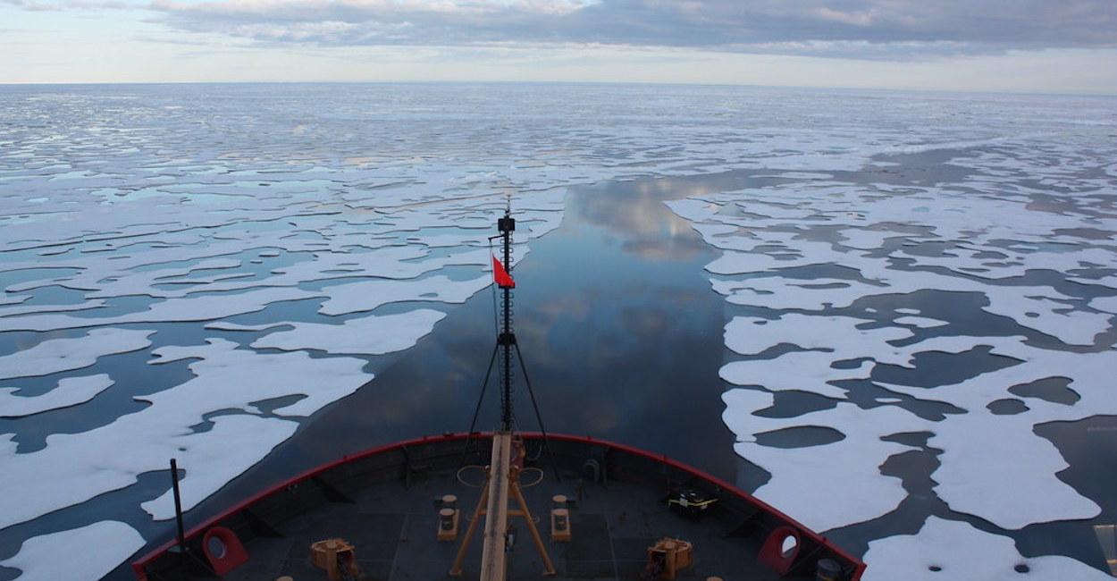 A ship moving through an icy sea