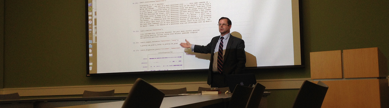 Professor Steven Harris gives a lecture on using computers to analyze poetry.