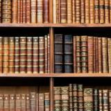 Image of books on library shelves.