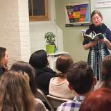 Professor Lorimer Leonard gives a reading from her book, Writing on the Move, at the Language Institute in Northampton, MA.