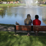 students on bench at pond on campus