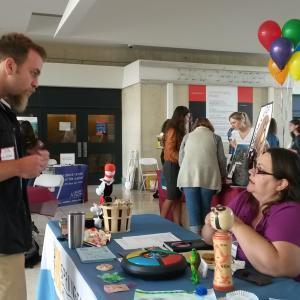 Students at internship fair