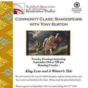 Flyer of Community Class: Shakespeare with Tony Burton