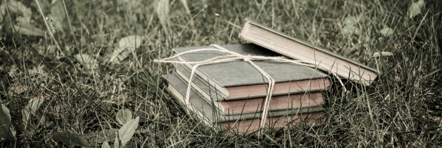 image of books wrapped in twine on grass.