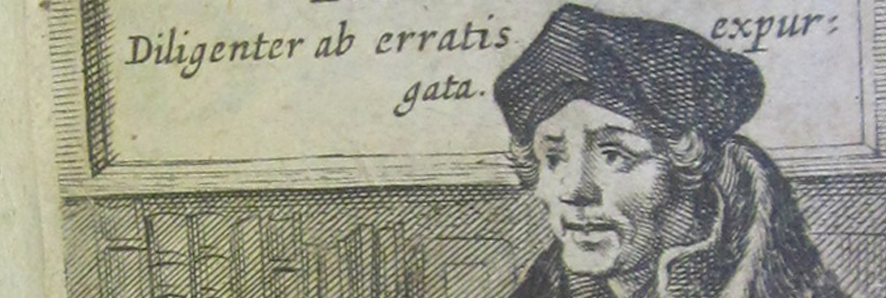 pencil portrait of man from Renaissance time behind Latin phrase