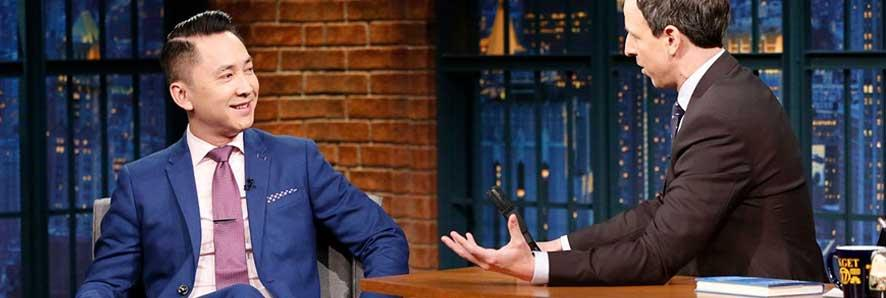 Viet Than Nguyen during a February 2017 appearance on 'Late Night with Seth Meyers.'