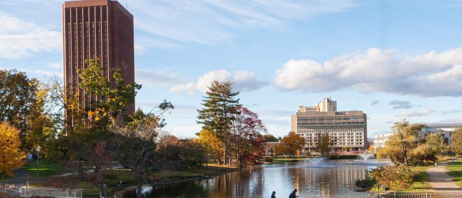 UMass Amherst campus pond viewed from Fine Arts Center