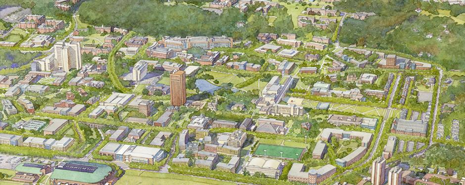 Aerial rendering of the future Amherst campus