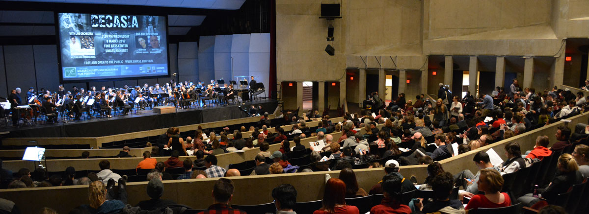 Attendees of a showing of Decasia with live orchestra.