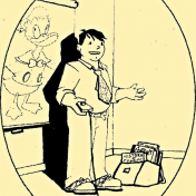 Line Drawing of Chris Couch teaching before an image of Donald Duck