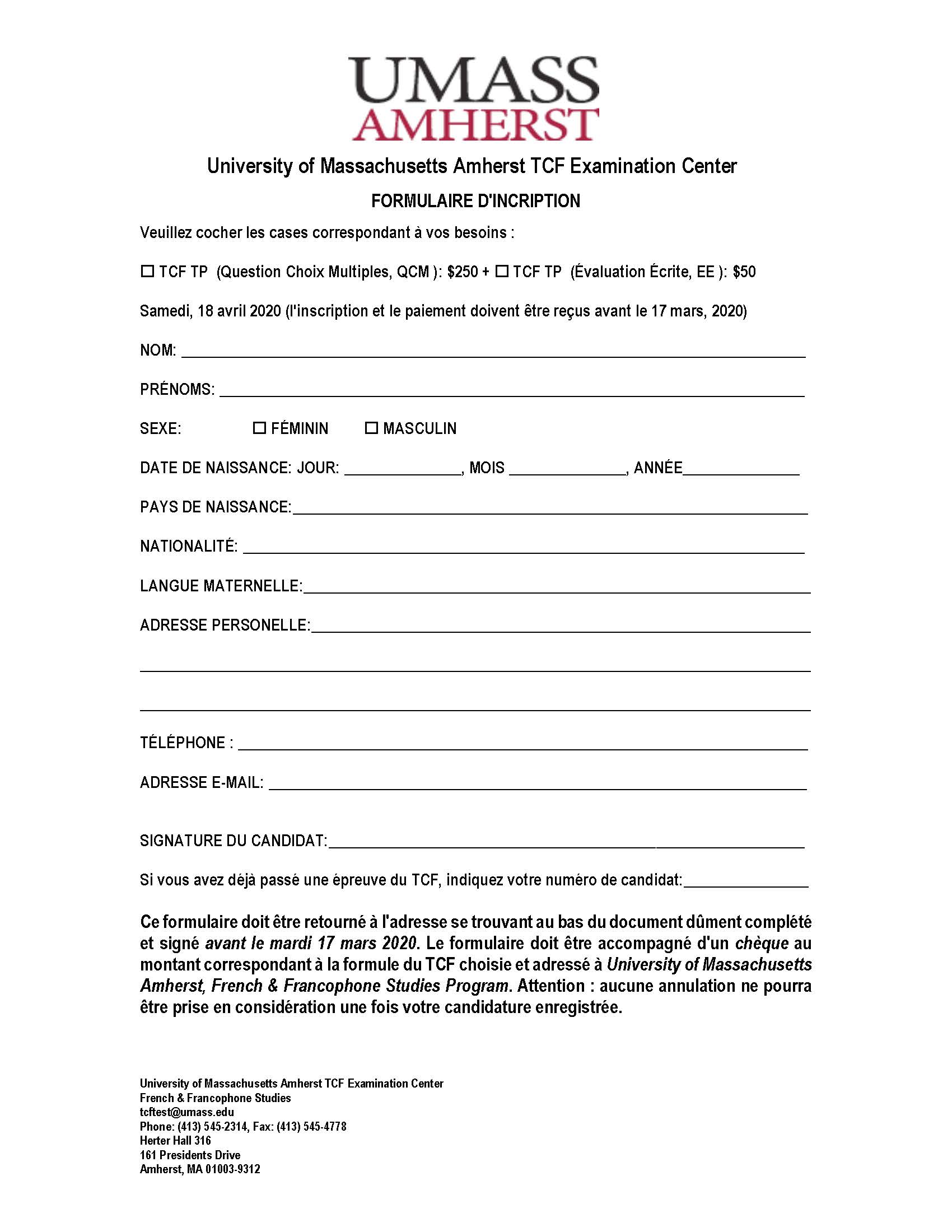 TCF Registration Form - April 2020