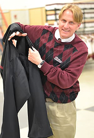 Minuteman Marching Band director Timothy Anderson with well-ventilated uniform pants.