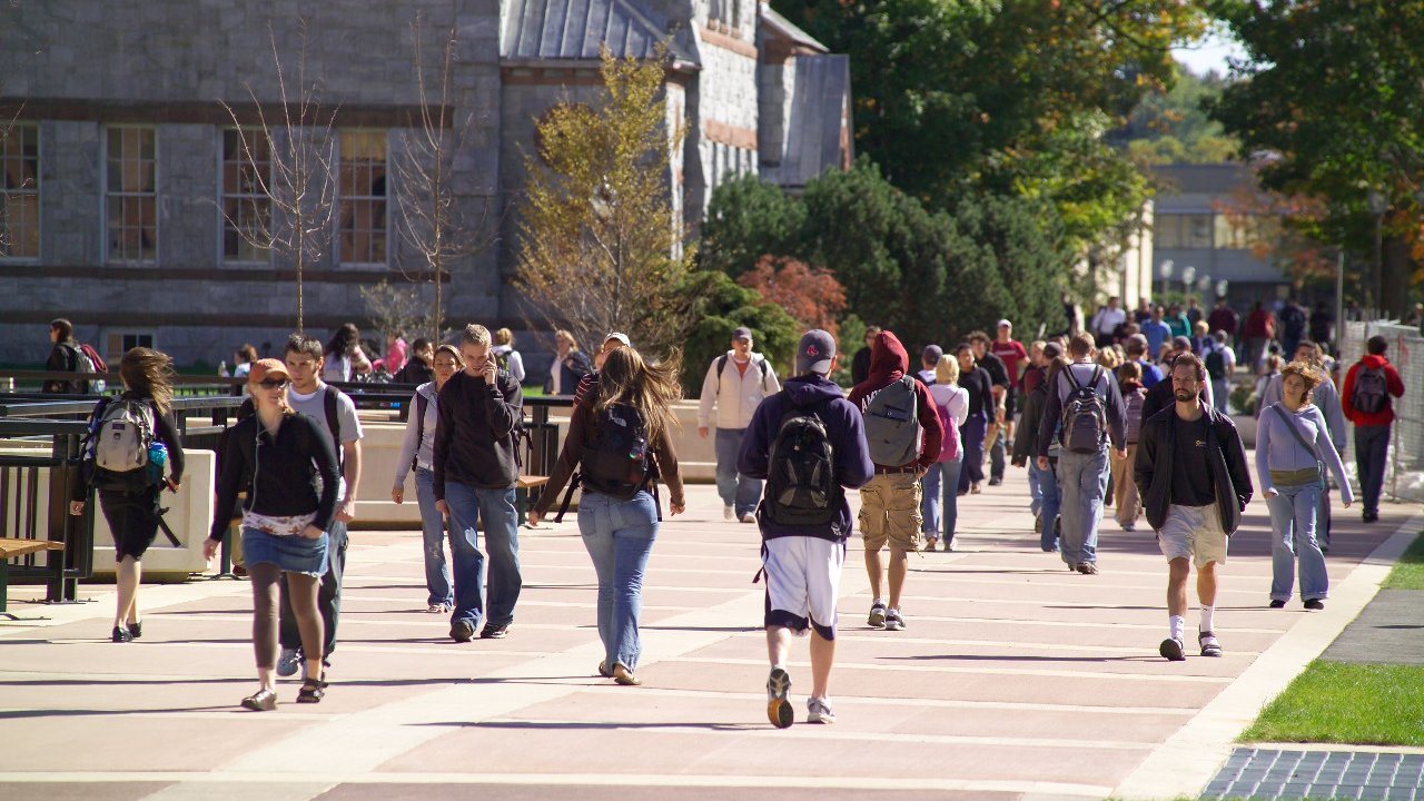 University of Massachusetts students between classes