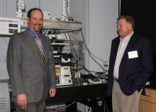 James Chambers, left, director of the IALS Light Microscopy Core Facility, and James Hamlin of Nikon Instruments
