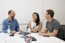 Professor Andrew McCallum, Priscilla Chan and Mark Zuckerberg