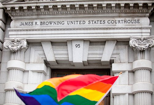 Rainbow Flag in front of courthouse