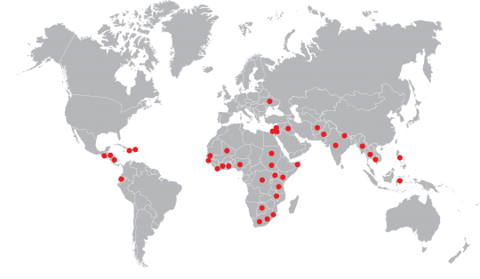 A map of the 39 countries where the Center for International Education has worked.