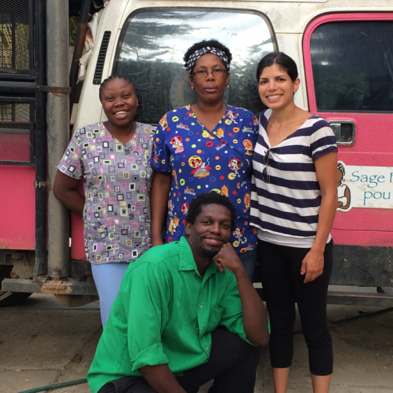 Students Monika Roy (top right) and Jean Arnaud (bottom) visited Midwives for Haiti (MFH) in July 2017  to study their community outreach system for conducting cholera surveillance. Pictured from MFH are Marie Ange Louis (top left), a nurse and birthing assistant, and Val Josette Philomene (top middle), head nurse and birthing assistant.
