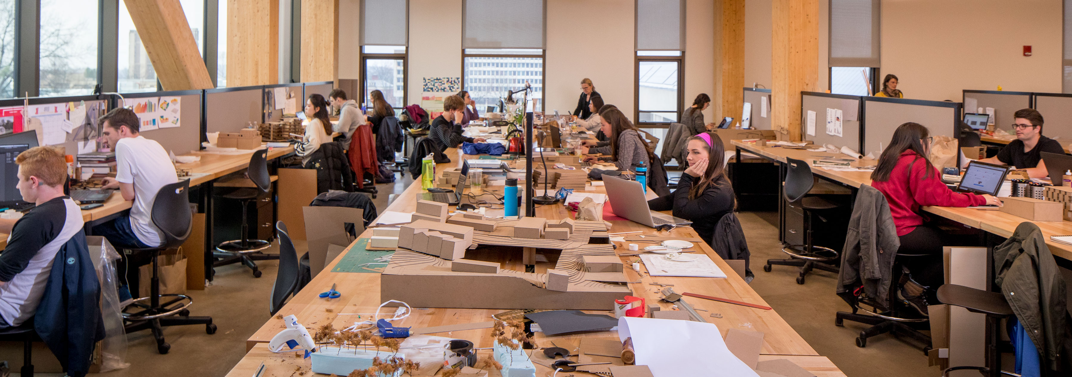 A view into the Architecture student work space