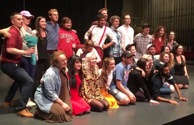 Theater students pose after receiving their awards.