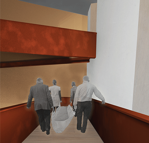 "Rendering of mourners carrying the deceased at the proposed ""core"" of the Urban Death Project."
