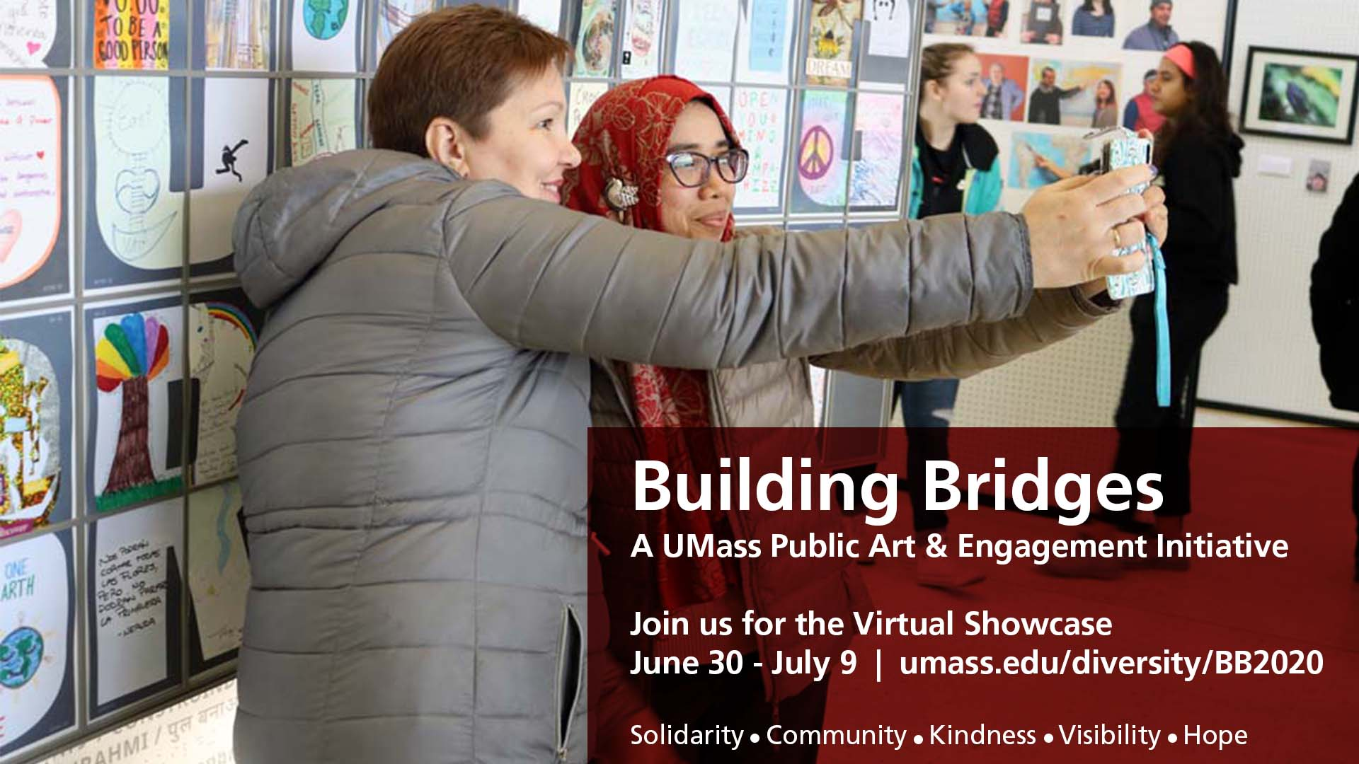 Building Bridges flyer image depicting two women, one wearing a gray coat and the other wearing a red hijab, smiling while taking a selfie.