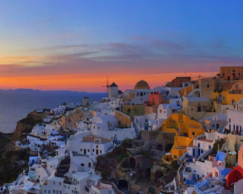 A Greek coastal town at sunrise
